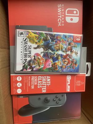 Nintendo Switch Gray Joy-Con with Screen Protector and Super Smash Bros. Ultimate System Bundle for Sale in Bowie, MD