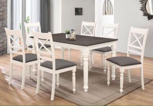 Brand New in the box Brand new 7pc buttermilk with antique gray top dining table with 6 chairs for Sale in Pomona, CA