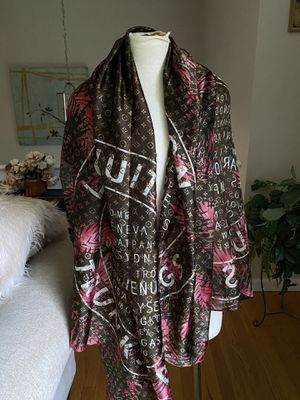 Louis Vuitton Monogram Chocolate & Beige 100% Silk Scarf like new condition never worn for Sale in Darien, CT