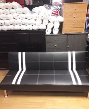 Brand New Black Faux Leather Futon Sofa Bed for Sale in Wheaton-Glenmont, MD