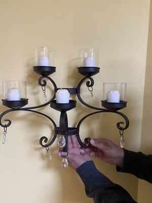 Beautiful two pieces metal wall wall and candles holder black for Sale in Gainesville, VA