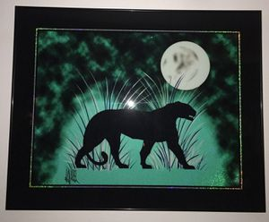 Art Deco Painted Black Panther By Laurel Street Art Club for Sale in Hilo, HI