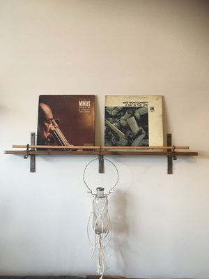 Handmade 2 LPs Display Wall Shelf with Flower / Plant Vase for Sale in Brooklyn, NY