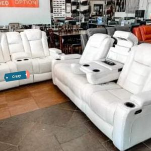 🌀[EXCLUSIVE] Party Time💎 White LED Power Reclining Living Room Set with Adjustable Headrest for Sale in Reisterstown, MD