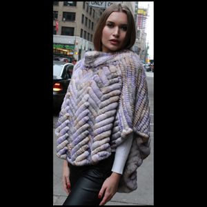Colorful Knit Rex Rabbit Fur Poncho for Sale for sale  New York, NY