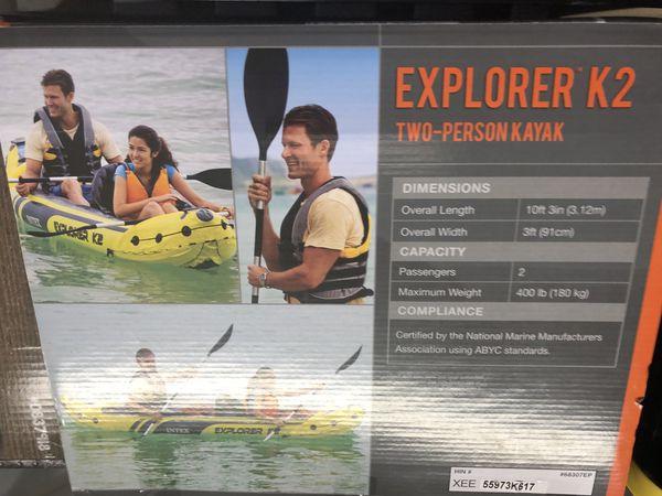 Intel Explorer K2 kayak, 2-person inflatable kayak set with aluminum oats and high output air pump