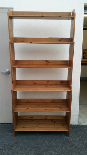 Solid pine wood bookcase shoe rack display storage closet shelves for Sale in Costa Mesa, CA