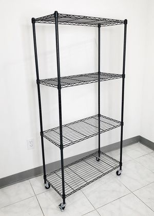 "$50 NEW Metal 4-Shelf Shelving Storage Unit Wire Organizer Rack Adjustable w/ Wheel Casters 30x14x61"" for Sale in Pico Rivera, CA"