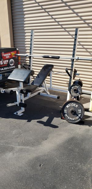 Squat rack/ bench press with weights for Sale in Anaheim, CA