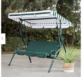 New Flanigan 3-Person Green and White Striped Steel Patio Swing with Tilt Canopy for Sale in Hacienda Heights,  CA