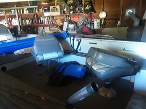 89 tracker sweet 16 boat w a 98 9.9 mercury 4 stroke runs great has new lights on trailer newer tires has a new bimini top and a storage cover for Sale in Cleveland, OH