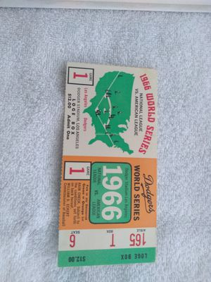 1966 World Series Game 1 Ticket - Baltimore Orioles vs Los Angeles Dodgers for Sale in Alhambra, CA