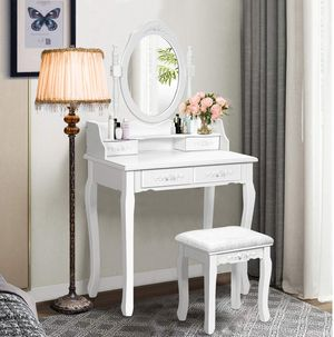 Vanity Table Set with Oval Mirror and 4 Drawers, Wood Makeup Dressing Table with Cushioned Stool,Top Removable Writing Desk, Bedroom Dressing Table for Sale in Woodland Hills, CA