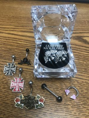 Biker Belly Button, Tongue, Lip, Ear Ring Set for Sale for sale  Groesbeck, OH
