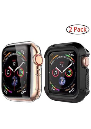 Case for Apple Watch Series 5 Series 4 44mm Screen Protector with Soft TPU all Around Cover and iwatch Case Bumper Clear/Black 2 Pack for Sale in Rancho Cucamonga, CA