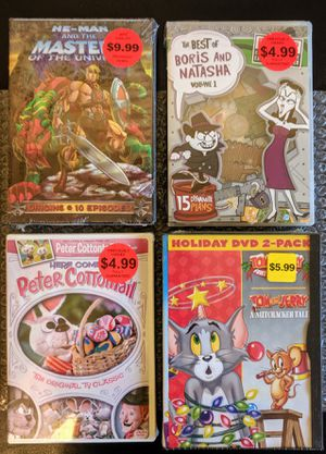 5xDVD - Sealed [HE-MAN, Tom & Jerry, Boris/Natasha + Here Comes Peter Cottontail] Childrens/Kids Classics for Sale in Huntington Beach, CA