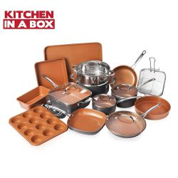 20 Piece All in One Kitchen Cookware + Bakeware Set with Nonstick Durable Ceramic Copper Coating for Sale in Los Angeles,  CA