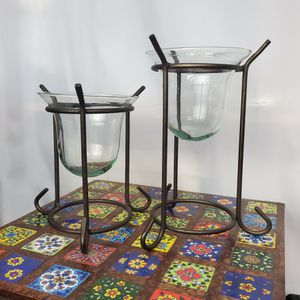 """Hanging Glasses Inside Bronze-Brownish Metal Holder 7.5"""" & 9.5"""" Tall for Sale in Santee, CA"""