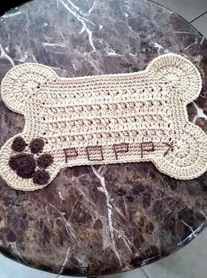 46356351d Hand crocheted personalized place mat for fur baby for Sale in Port St.  Lucie