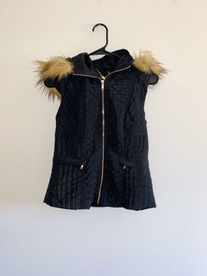 Coalition LA black hooded vest faux fur lining and hood for Sale in Chicago, IL