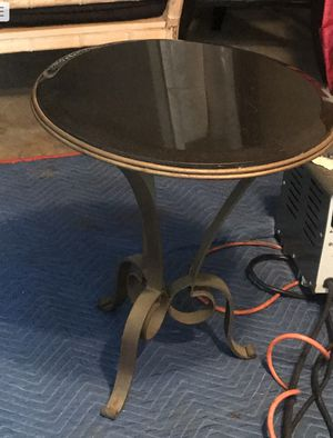 Antique Iron End Table with Black Marble Top for Sale in Laguna Beach, CA