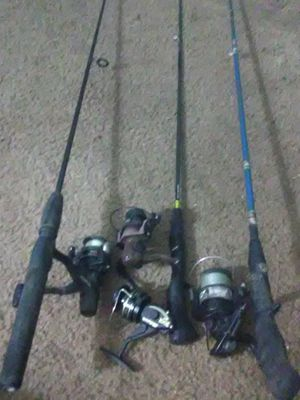 3 fishing poles.5'8tall/4'10tall/4'8tall with reels one x reel for Sale in Fresno, CA