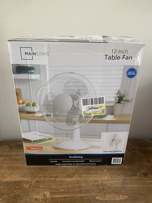 "Mainstays 12"" 3-Speed Oscillating Table Fan, Model## FT30-8MBW, White for Sale in Orlando, FL"