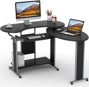 L-Shaped Rotating Corner Desk in Black Home Office Workstation Furniture for Sale in Los Angeles, CA