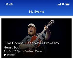 Luke Combs: 2 floor tickets! for Sale in Stockton, CA