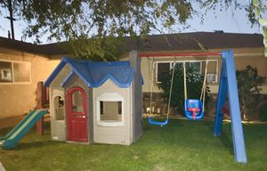 little tikes swing set playhouse playground with kids slide for Sale in Fontana, CA