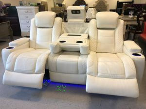 🚛IN STOCK /FAST DELIVERY Party Time White LED Power Reclining Loveseat with Adjustable Headrest for Sale in Silver Spring, MD