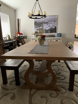 Gorgeous extra large formal dining table with leaf extension and 2 wooden benches modern homes for Sale in Peoria, AZ