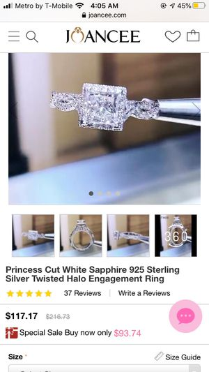 Princess Cut White Sapphire 925 Sterling Silver Twisted Halo Engagement Ring for Sale in Tacoma, WA