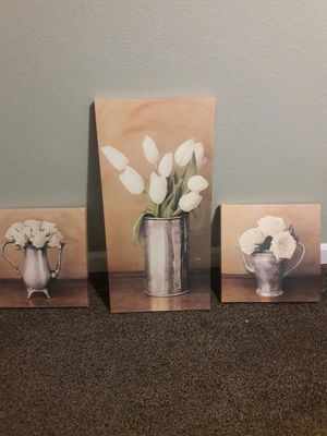 All 3 flower canvases for Sale in Anoka, MN