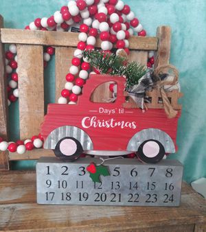 Famous red truck Christmas decor. Christmas countdown calendar with red truck and tree in the back. So cute!! Great for farmhouse decor for Sale in Colton, CA