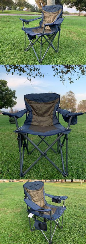 More pieces available. Brand new!Heavy-Duty Portable Camping Chair, Collapsible Padded Arm Chair with Cup Holders and Lower Mesh Side Pocket, Blue for Sale in Temple City, CA