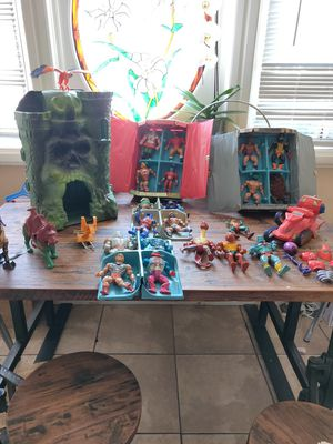 HE-MAN Collection,20 Action figures,He-man castle, ,1, war horse, 1 battle cat ,2, collector cases ,1, eagle 1 snake, 9, accessories,one attack track for Sale in Fontana, CA