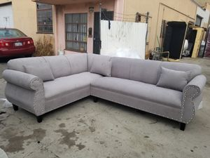 NEW 7X9FT ANNAPOLIS LIGHT GREY FABRIC SECTIONAL COUCHES for Sale in Indio, CA