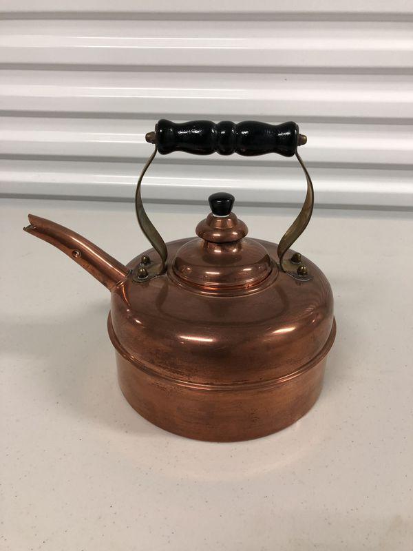 Vintage Simplex Solid Copper Whistling Tea Kettle Pot - Excellent