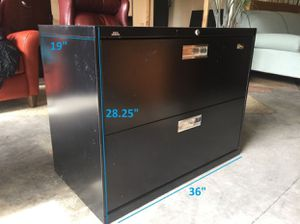 Two Drawer Black Filing Cabinet (with key) for Sale in Kirkland, WA