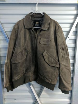 Leather Aviation Jacket (Size L) for Sale in Millersville, MD