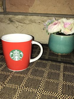 Starbucks SOLID RED, White Handle with Siren Logo Coffee Mug Cup 12oz for Sale in French Creek,  WV