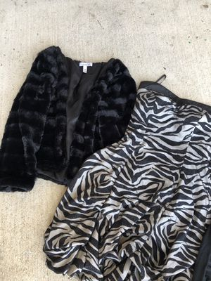 Zebra glitter prom dress and faux fur crop jacket for Sale in Modesto, CA