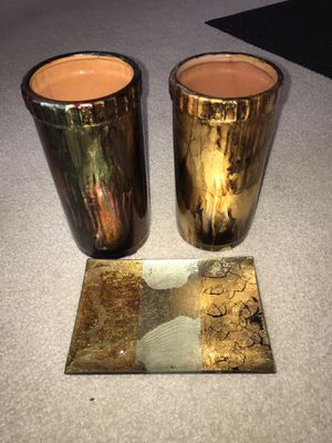 Pair of Ceramic vases and one glass decorative tray for Sale in Bristow, VA