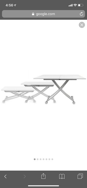 Height adjustable rectangular to square coffee to dining table. High gloss white. Near new for Sale in Boston, MA
