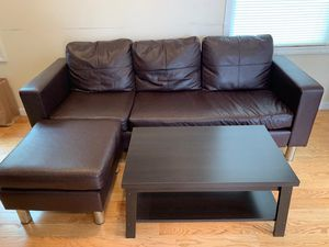 Sofa with table , full size bed with matress, king size foldable bed with matress for Sale in Edison, NJ