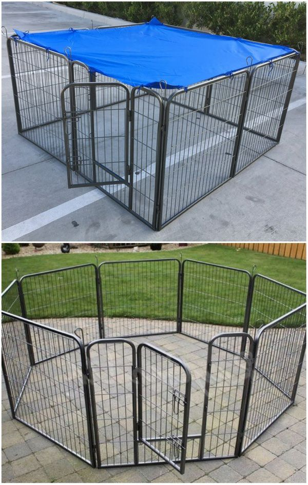 Brand new 32 inch tall x 32 inches wide each panel x 8 panels heavy duty playpen fence safety gate dog cage crate kennel expandable fence blue shade