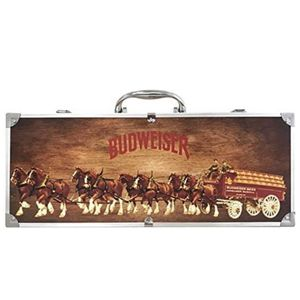 Budweiser Wooden Grill Kit with Clydesdales Carrying Case: 4-Piece BBQ Gift Set – Premium Barbecue Sauce, Wood Handle Grilling Spatula and Basting Bru for Sale in Crown Point, IN