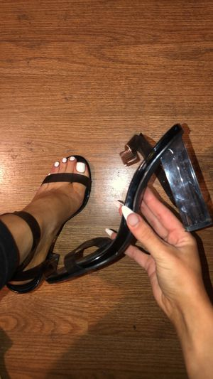 Clear black strapped heels for Sale in Los Angeles, CA