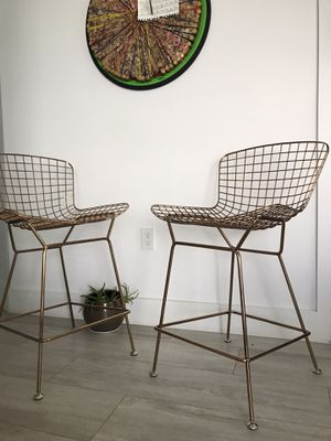 Zuo Modern Wire Bar Stools. Set of 2. Bras color for Sale in Miami, FL